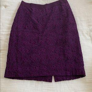 Jcrew purple lace pencil skirt